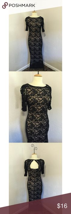 NWT Candalite Black/Nude Dress size M New with tags! Beautiful black and nude dress with open back and half sleeve, Ankle length. Would fit full length on petit women. Size M candalite  Dresses Prom