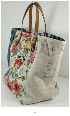 Upcycle fabric and belt into tote bag fabric, Vintage - Beutel Sacs Tote Bags, Denim Tote Bags, Diy Bags Purses, Handmade Purses, Handmade Fabric Bags, Handmade Handbags, Big Bags, Market Bag, Totes
