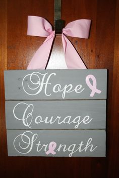 Hope Courage Strength Pallet Sign Breast Cancer by ThesweetletterG, $30.00