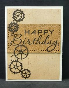Great idea using the gears (Sprightly Sprockets Dies)  and cogs as a border; masculine care from splitcoaststampers.com by hobbydujour