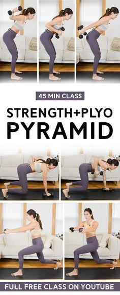 Plyo Workouts, Hiit Workout Videos, Plyometric Workout, Weight Training Workouts, Plyometrics, Dumbbell Workout, Fun Workouts, At Home Workouts, Workout Classes