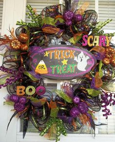 """""""TRICK or TREAT II"""" -  Chic Deco Mesh Halloween Wreath Decoration by DecorClassicFlorals on Etsy, $119.95"""