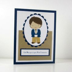 Communion card for boy, holy first communion card, religious card, congratulations via Etsy