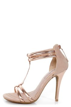 Anne Michelle Enzo 16 Rose Gold Metallic T-Strap Heels - Lulu's For all those springy pastel outfits I plan on buying! Fancy Shoes, Crazy Shoes, Me Too Shoes, Gold Heels, Stiletto Heels, White High Heels, T Strap Heels, Bridesmaid Shoes, Cute Heels