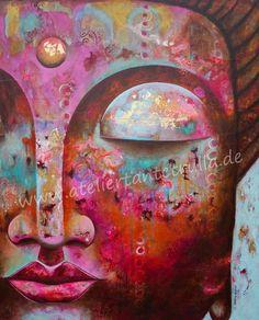 """Atelier Tante Trulla: VERKAUFT - """"Buddha III"""" - buntes Original-Gemälde kaufen                                                                                                                                                                                 Mehr"""