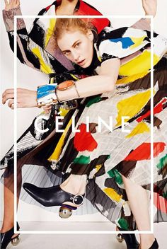 Love this ad by Céline for their spring/summer 2014 collection. It features Julia Nobis and another model in a photo that isn't credited but feels like Viviane Sassen but I can't say for sure. Excellent prints - the colour is simply spot on. And you gotta just love the bracelets and those spherical heels.