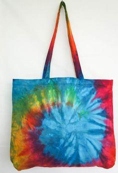 YAAMSTORE spiral rainbow handmade Tie die tote eco by yaamstore, $16.99