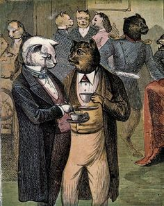 The Cats' Tea Party; 1870 (illustrator unknown)
