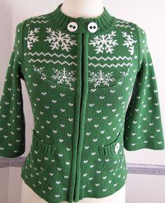 DG Sweater XS Cardigan Green Snowflake pattern 3/4 sleeve Cotton Blend #DG #Cardigan