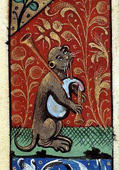 bagpiping cat, Book of Hours, Lyon, ca. 1505-1510. Lyon, Bibliothèque municipale, Ms 6881, fol. 63v