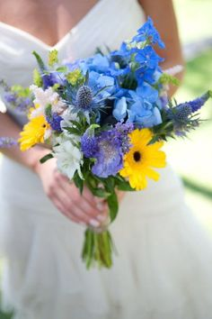 Provence Wedding by David Bornais Photography wedding boquet . Blue Wedding Flowers, Spring Wedding Flowers, Yellow Wedding, Blue Flowers, Wedding Bouquets, Wild Flowers, Flower Colors, Exotic Flowers, Yellow Flowers