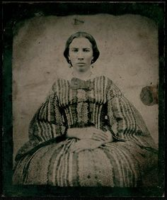 vintage photo tintype Civil WAr Era Woman INCREDIBLE dress.