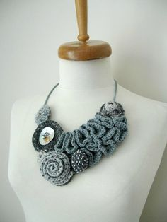 """Items similar to Fiberart Crochet Necklace, """"The long way to the Mountain"""", Collar Necklace, Freeform crochet necklace By CrochetLab, wearableart on Etsy Textile Jewelry, Fabric Jewelry, Jewelry Art, Jewellery, Freeform Crochet, Irish Crochet, Knit Crochet, Crochet Flower Patterns, Crochet Flowers"""