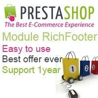 Rich footer made for webmaster who work with Prestashop. This footer is verry easy to use, we have best offer for this from all the web. and we give support to this module 1 year.