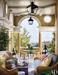 Michael S. Smith in Architectural Digest. Here, a Palladio-inspired loggia off the living room of television director James Burrows's hilltop home looks out over Los Angeles. House Design, Outdoor Space, Outside Living, Outdoor Living, Brick Exterior House, House Exterior, Exterior Design, Beautiful Homes, Architectural Digest