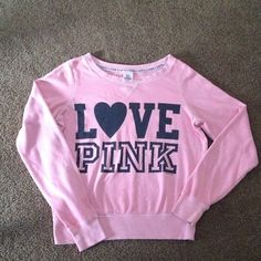 Pink sweater Pink sweater in good condition there's stain spot that show in the pic 3 PINK Victoria's Secret Sweaters Crew & Scoop Necks