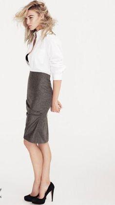 White shirt, Theory; pencil skirt, Alexander McQueen; black pumps, Miu Miu