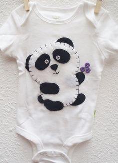 Hand Embroidered Felt Panda Onesie by CraftyLittleSecret on Etsy