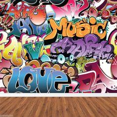 RETRO GRAFFITI ARTISTIC URBAN BACKGROUND WALL MURAL WALLPAPER CUSTOM SIZES