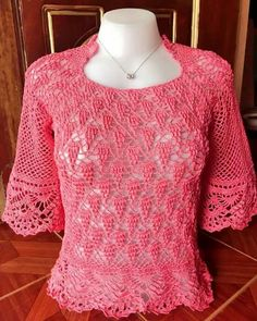 Tunic / S. Pullover pattern by michiyo Crochet Blouse, Crochet Top, Fillet Crochet, Spring Blouses, Crochet Woman, Sweater Skirt, Lace Tops, Crochet Clothes, Sweaters For Women