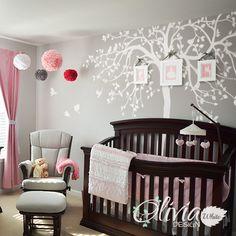 WHITE Nursery Tree Wall Decal Huge Kids room Tree Decor Large Tree Mural White Whimsical Tree Wall Sticker - NT033