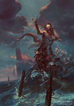 Ananiel, Angel of Storms, Peter Mohrbacher on ArtStation at https://www.artstation.com/artwork/NbvNP