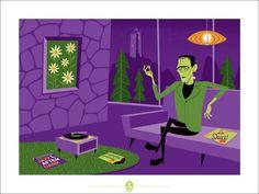 Universal Monsters x Shag Regular 18x24 Signed 150 Frankenstein Print Josh Agle   eBay..