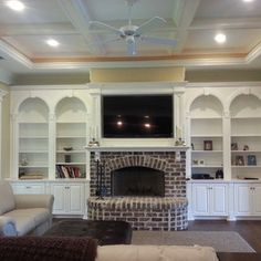 but more contemporary built ins. Family Room, Home And Family, New House Plans, Low Country, Built Ins, My Dream Home, Home Renovation, Great Rooms, Future House