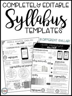 Syllabus Editable {8 Different Editable Syllabus Infographic Templates}