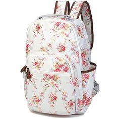 Leaper Cute Waterproof Floral Canvas+PVC Layer Backpack Laptop Bag... ($35) ❤ liked on Polyvore featuring bags, canvas bag, canvas backpack, floral canvas backpack, backpack laptop bag and white canvas backpack