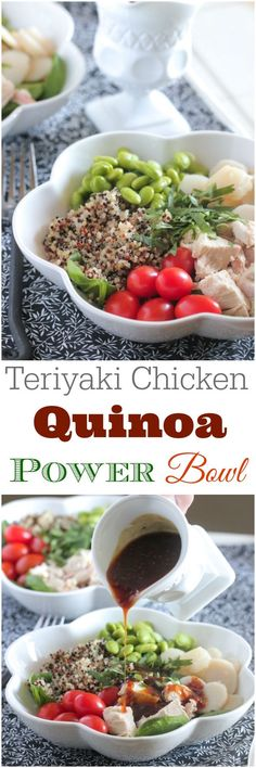 Teriyaki Chicken Quinoa Power Bowl. Simple and healthy lunch or dinner recipe! #healthy #chicken #dinner