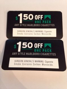 Marlboro Coupons 2 - $1.50 OFF ANY PACK OF ANY STYLE MARLBORO CIGARETTES