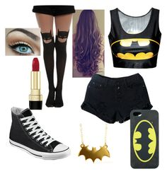 """For my first set, a Batman outfit!"" by alistabile ❤ liked on Polyvore"