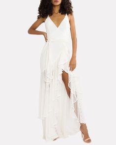PatBO Ruffled Mesh Maxi Dress | INTERMIX®