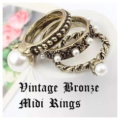 Midi Vintage Bronze Pearl 3pc. Ring Set! Size 6! NWOT, 3 Ring Set, Vintage Bronze with pearls above Knuckle/Midi Rings! On Trend & Top Fashion Style! Please ask any questions! Price Firm unless bundled! ❌Trades or PP Jewelry Rings