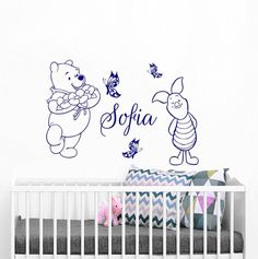 Winnie the Pooh Wall Decal Name Wall Decals Personalized Name Vinyl Decal Butterfly Art Sticker Name Nursery Decal Bedroom Decor Nursery Decals, Name Wall Decals, Vinyl Decals, Vinyl Store, Kids Room, Child Room, Butterfly Art, Textured Walls, Cute Designs