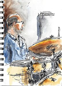 Traits Touchés le blog de Thierry Denfert artiste à ses heures ,aquarelle watercolor croquis musique