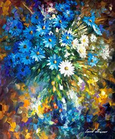 "BOUQET OF HAPPINESS by Leonid Afremov Canvas Prints Realistic Oil Painting Printed On Canvas 12""x16"" 24""x32"" LA16-in Painting & Calligraphy from Home & Garden on Aliexpress.com 