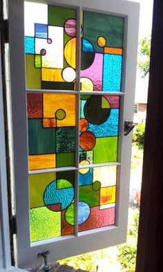 Stained Glass Window / Geometric Splash W29 by TerrazaStainedGlass
