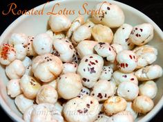 Roasted Lotus Seeds (Phool Makhana Namkeen): Phool Makhana, also called as Lotus nuts, is the seed from lotus flower. Roasted lotus seeds are quick to prepare light snack. Try this evening snack and ejoy. The recipe is @ http://simpleindianrecipes.com/Home/Roasted-Lotus-Seeds.aspx