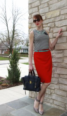 3.1 Phillip Lim navy bag, Red Escada high waste skirt, J.Crew necklace, BCBGMaxAzria gray heels