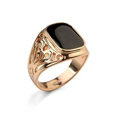 Full Size ITALINA Fashion Male Rings Rose Gold Color Men's Black Ring Wedding Eneament Jewelry