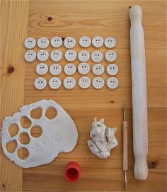 Little Brick House Clayworks: Making with porcelain clay (porcelain Owl Buttons)...