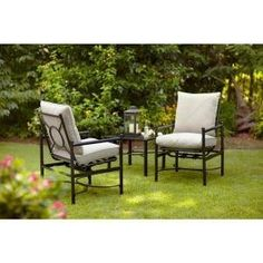 PATIO FURNITURE OUTDOOR LAWN & GARDEN HAMPTON BAY BARNSLEY WITH BEIGE SILVER PEBBLE TEXTURED CUSHIONS 3 PC by PATIO FURNITURE At The Neighborhood Corner Store. $696.03. Beige cushions coordinate with other items on your patio UV-protected and weather-resistant fabric for longevity. Adjustment levelers on the chairs and table Clean frames with a damp cloth and dry thoroughly. Polyfiber fill for added comfort Powder-coated steel frames protect finish. Durable, weather-...