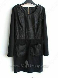Black PU Long Sleeve Pockets Zip Back Dress