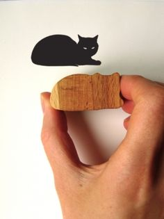 Cat Stamp, Wooden Handled Sphinx Cat Rubber Stamp