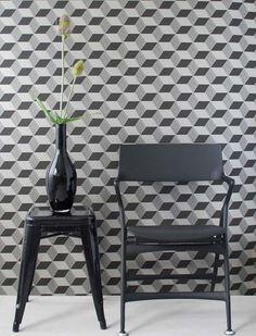 wohnzimmer tapeten design geometrisch muster kuben grau squares