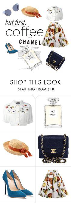 """""""Coffee overload"""" by sabinamaz ❤ liked on Polyvore featuring Moschino, Chanel and Fendi"""