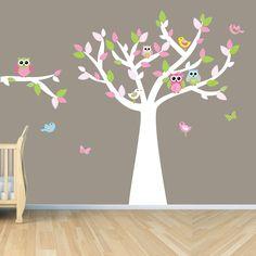 Owl Tree Art, Owl Tree decal, Owl Wall Decal, Girl Owl Tree Art, Vinyl Art Decal, Tickled Pink Design. $88.00, via Etsy. omg. cutest nursery ever- change to blue for boys.
