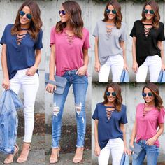US-DEALS US Womens Summer Loose T Shirt Short Sleeve Blouse Ladies Casual Tops Plus Size: $6.64 End Date: Friday Apr-6-2018…%#USDeals%